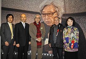 記念式典に出席した山田洋次監督と 「東京家族」に主演する橋爪功と吉行和子ら「男はつらいよ」