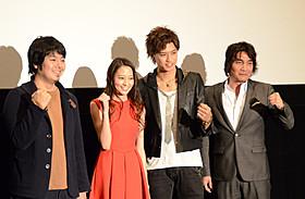 (左より)堀江慶監督、河北麻友子、井上正大、藏本天外「ベロニカは死ぬことにした」