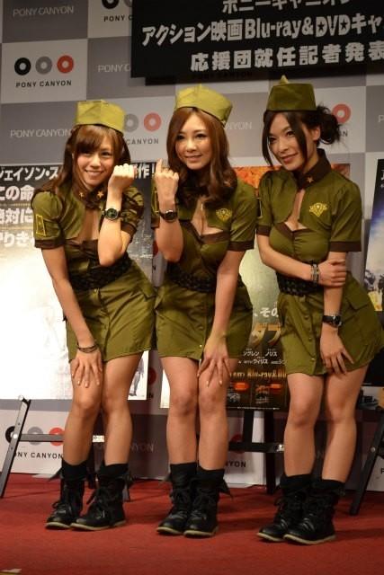 「ポニーキャニオン アクション映画 Blu-ray&DVDキャンペーン」応援団に就任した 「恵比寿マスカッツ」の3人