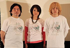 「インターミッション」初日挨拶に登壇した (左から)樋口尚文監督、秋吉久美子、染谷将太「インターミッション」