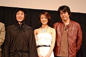 舞台挨拶に立ったなだぎ武、中越典子、渡邊世紀監督
