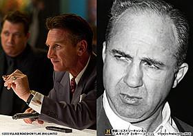 本物のコーエン(右)と、コーエンを独自に演じたS・ペン(左)「L.A. ギャング ストーリー」