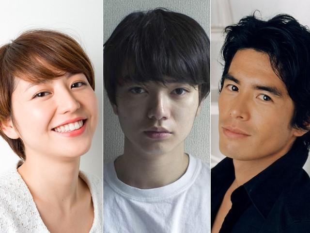 矢口史靖監督のもとに結集する (左から)長澤まさみ、染谷将太、伊藤英明