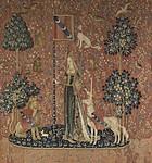 タピスリー《貴婦人と一角獣「触覚」》、1500年頃、フランス国立クリュニー中世美術館蔵