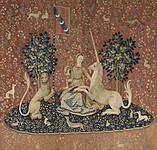 タピスリー《貴婦人と一角獣「視覚」》、1500年頃、フランス国立クリュニー中世美術館蔵