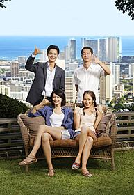 「わたしのハワイの歩きかた」に主演の 榮倉奈々(前列左)、高梨臨、瀬戸康史、加瀬亮「わたしのハワイの歩きかた」