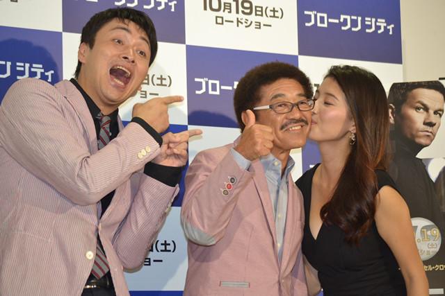 橋本マナミが具志堅用高にご褒美キス!「ブロークンシティ」イベント開催