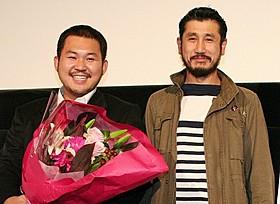 ティーチインに参加した渡辺紘文監督と渋川清彦「そして泥船はゆく」
