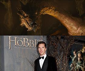 日本初公開されたスマウグの姿(上) と演じたベネディクト・カンバーバッチ(下)「ホビット 竜に奪われた王国」