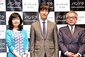 (左より)井上由美子、堺雅人、河毛俊作監督「パンドラ」