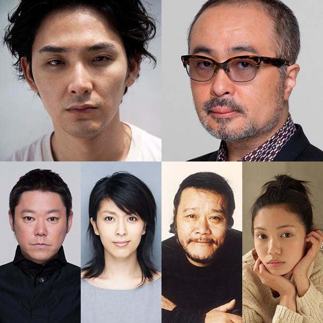 松尾スズキ監督(上段右)に結集した(上段左から) 松田龍平、二階堂ふみ、西田敏行、松たか子、阿部サダヲ