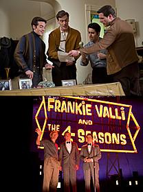 写真上は本編シーン、 下は撮影現場でのイーストウッド(左)とキャスト「ジャージー・ボーイズ」