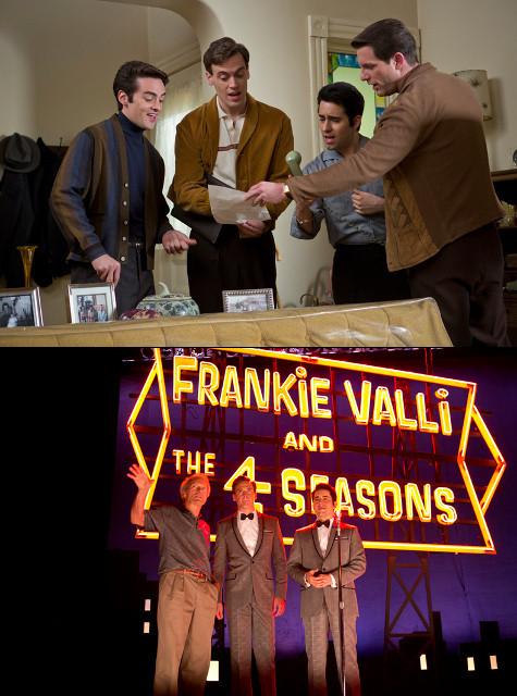 写真上は本編シーン、 下は撮影現場でのイーストウッド(左)とキャスト