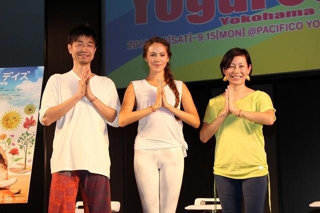 ヨガの世界を語った(左から) 綿本彰氏、道端ジェシカ、永田琴監督