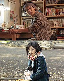 風間俊介と共演するつるの剛士(上)と ヒロイン役の若手女優・松岡茉優「猫なんかよんでもこない。」