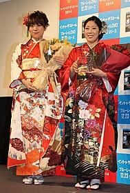 着物姿で登場した「日本エレキテル連合」の 中野聡子(右)と橋本小雪「イントゥ・ザ・ストーム」