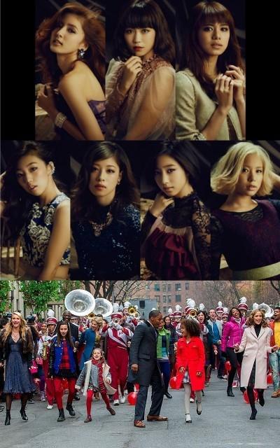 (上)Flowerのメンバー7人 (下)映画「ANNIE アニー」の一場面