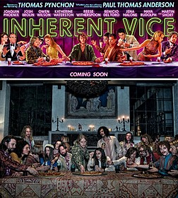 「最後の晩餐」をモチーフにしたキャラクタービジュアル(上) 劇中場面写真(下)「インヒアレント・ヴァイス」