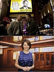 (上)「バードマン」の一場面 (下)TVスポットのナレーションを務める米倉涼子「バードマン あるいは(無知がもたらす予期せぬ奇跡)」