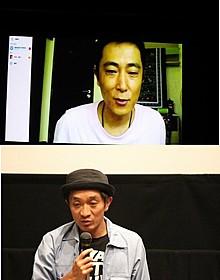 Skypeで会見した富田克也監督(上)と脚本の相澤虎之助「バンコクナイツ」