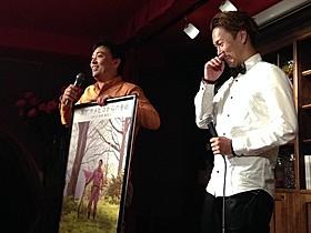 店主で監督・脚本を手がける井川啓央氏(左)「紫陽花とバタークリーム」