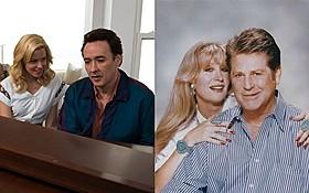 「ラブ&マーシー 終わらないメロディー」場面写真(左)と ブライアン・ウィルソンと妻メリンダ「ラブ&マーシー 終わらないメロディー」