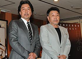 (左から)阿南惟幾陸相への思いを語った役所広司、原田眞人監督「日本のいちばん長い日」