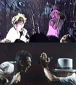 電気グルーヴの1989年の初ライブ(上段)と 2014年のフジロックのステージ写真(下段)「DENKI GROOVE THE MOVIE? 石野卓球とピエール瀧」