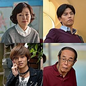 (左上から時計回りに)出演する小林聡美、要潤、 志賀廣太郎、北村匠海「あやしい彼女」
