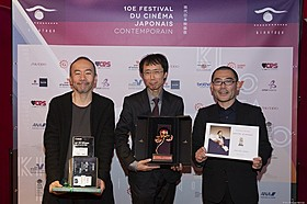 (左から)塚本晋也監督、 小川真司プロデューサー(『味園ユニバース』)、武正晴監督「野火」