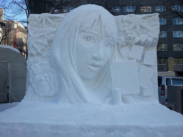 「ちはやふる」雪像がさっぽろ雪まつりに 原作オマージュのビジュアルを再現