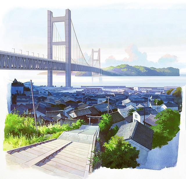 舞台となる岡山県・児島の背景美術画