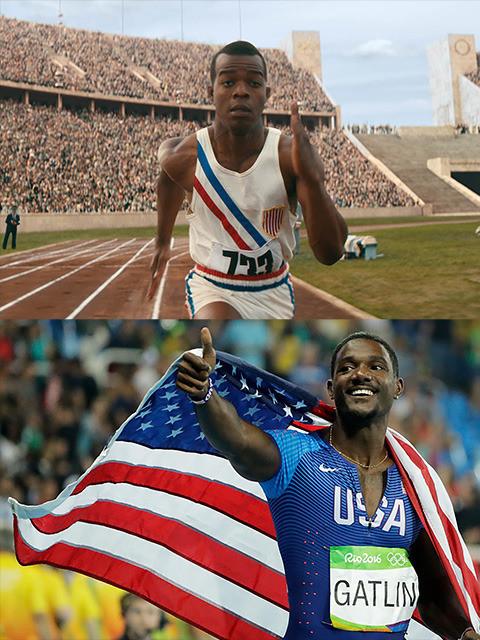 五輪の100メートル走では最高齢 でのメダル獲得(写真下)