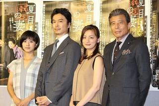 会見に出席した(左から)黒島結菜、 長谷川博己、尾野真千子、舘ひろし「吾輩は猫である」