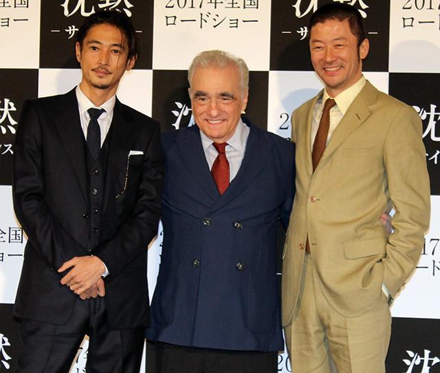 会見したマーティン・スコセッシ監督と 窪塚洋介、浅野忠信