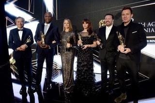 アン・リー監督、サミュエル・L・ジャクソン、 ジョディー・フォスター、フェリシティ・ ジョーンズ、リッキー・ジャーベイス、 ユアン・マクレガー(左から)「インフェルノ」