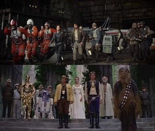 「ローグ・ワン」(上)と 「エピソード4」の秘密基地セット「スター・ウォーズ」