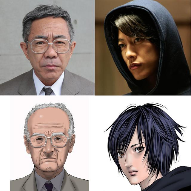 「いぬやしき」に主演する木梨憲武(左上)と 大量殺人鬼に扮する佐藤健