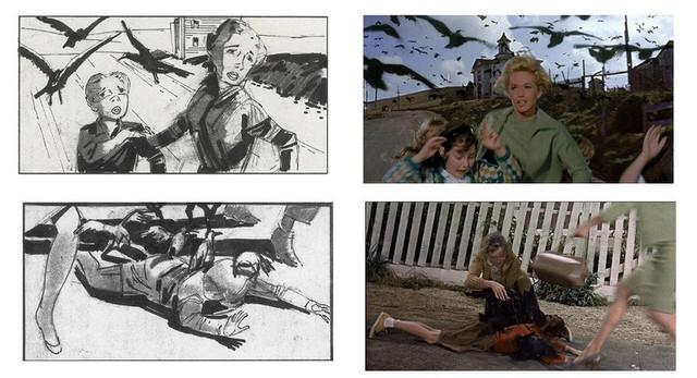 ヒッチコックの名作「鳥」の絵コンテと場面写真