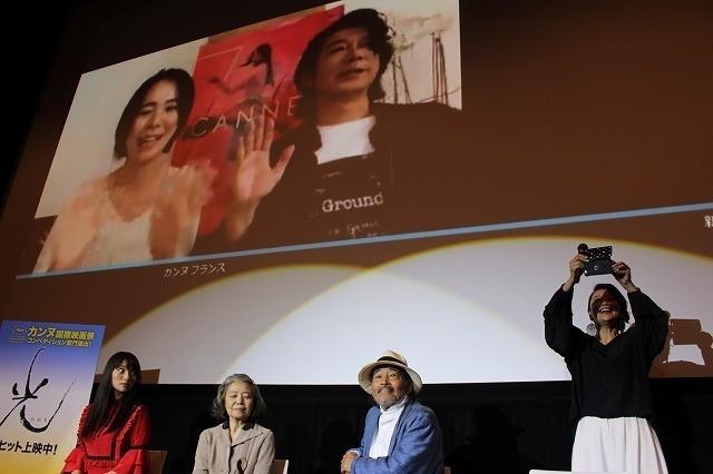 Skypeで初日挨拶に参加した 河瀬直美監督と永瀬正敏
