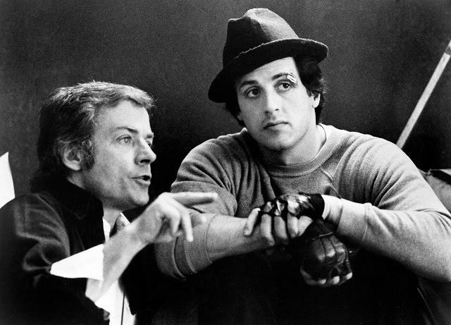 「ロッキー」撮影現場での アビルドセン監督(左)とスタローン