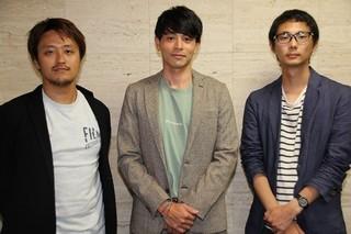 取材に応じた吉沢悠、坂下雄一郎監督(右)、 田中雄之プロデューサー(左)「エキストランド」