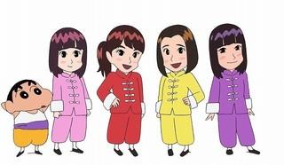 「ももクロ」がアニメになって「クレしん」とコラボ!しんちゃんと映画主題歌披露