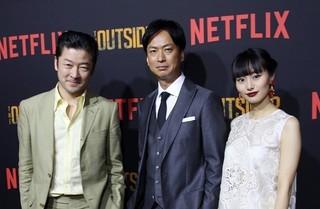 「アウトサイダー」で共演した 浅野忠信、椎名桔平、忽那汐里「アウトサイダー」