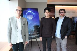 (左から)ドナルド・デ・ライン、 森崎ウィン、アーネスト・クライン氏「レディ・プレイヤー1」