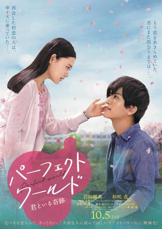 岩田剛典&杉咲花が見つめ合う「パーフェクトワールド」桜吹雪舞うポスター披露