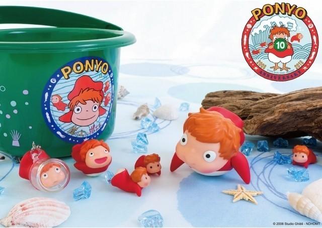 「崖の上のポニョ」10周年記念 ポニョといもうとたちの手乗りソフビ人形&バケツ発売