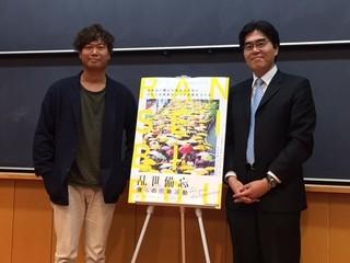 チャン・ジーウン監督(左)と立教大学法学部倉田徹教授「乱世備忘 僕らの雨傘運動」