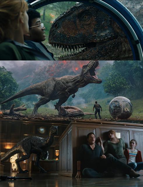 (上から)カルノタウルス、T・レックス、インドラプトル