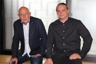 取材に応じたC・クレーネス監督(左)とF・バイゲンザマー監督(右)「ゲッベルスと私」